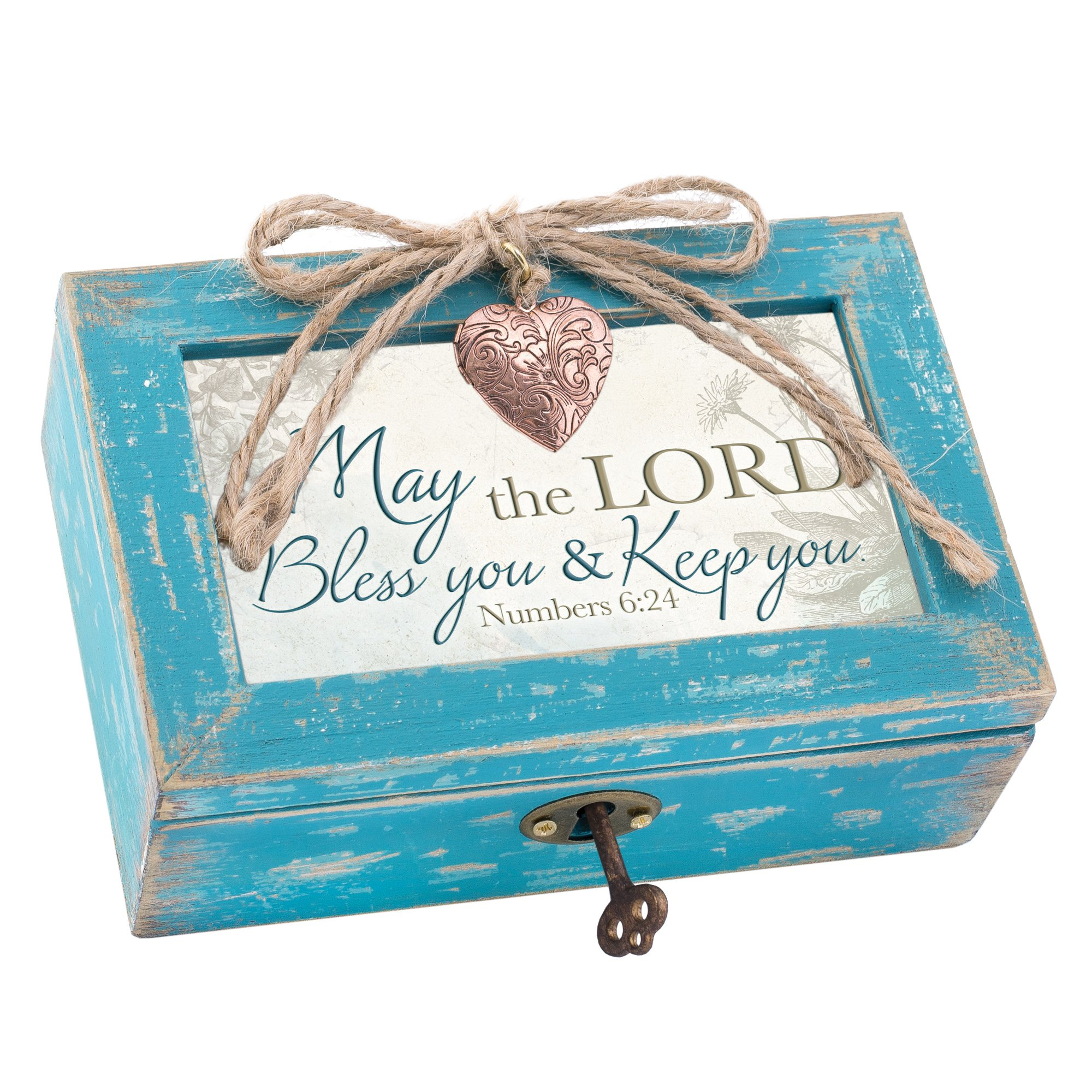 Cottage Garden May the Lord Bless & Keep You Teal Wood Locket Jewelry Music Box Plays Tune How Great Thou Art