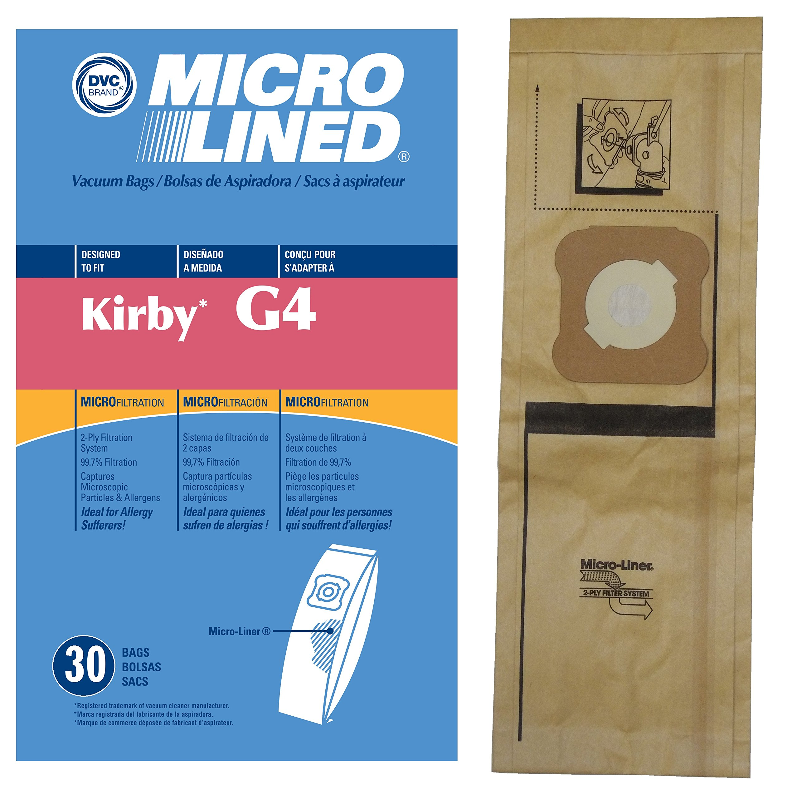 30 Kirby Generation Series DVC Micro-Lined Allergen Filtration Upright Bags, 30 Bags.