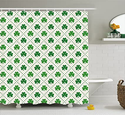 Ambesonne Irish Shower Curtain Four Leaf Shamrock Clover Flowers With Dotted Dashed Lines National Culture