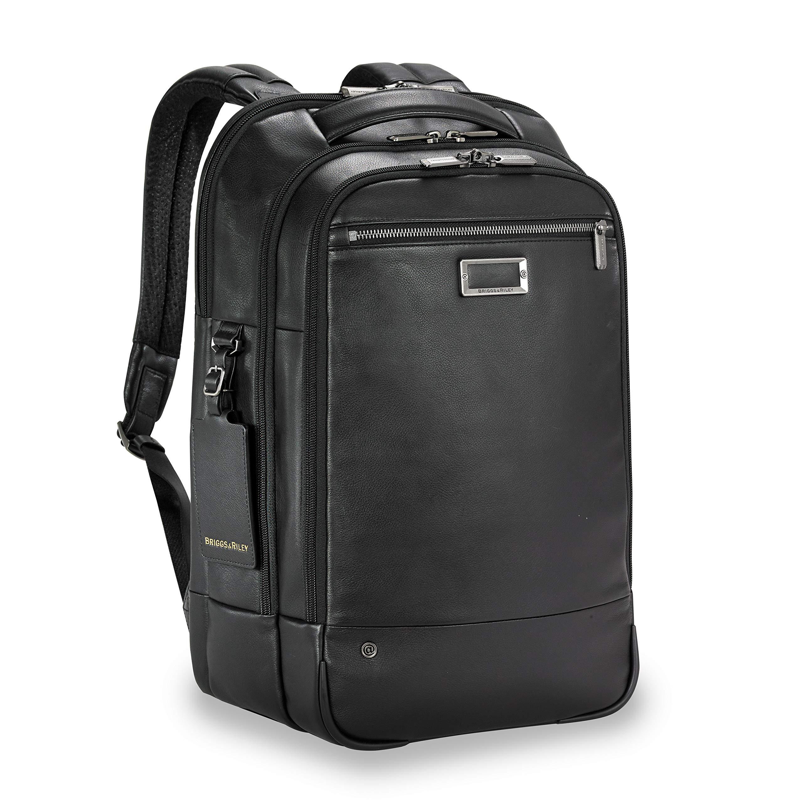 Briggs & Riley Leather Medium Backpack (NO INITIALS BLACK)
