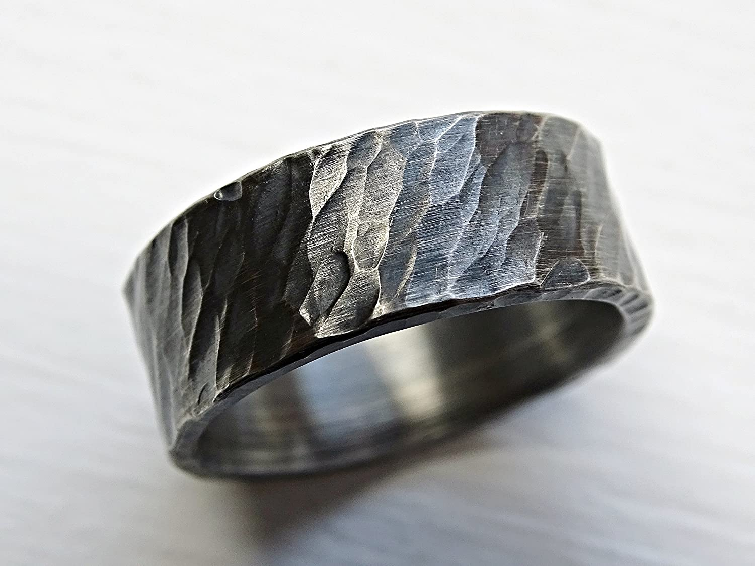 c50a694e0ed01 Amazon.com: rustic viking ring black silver, mens forged ring ...