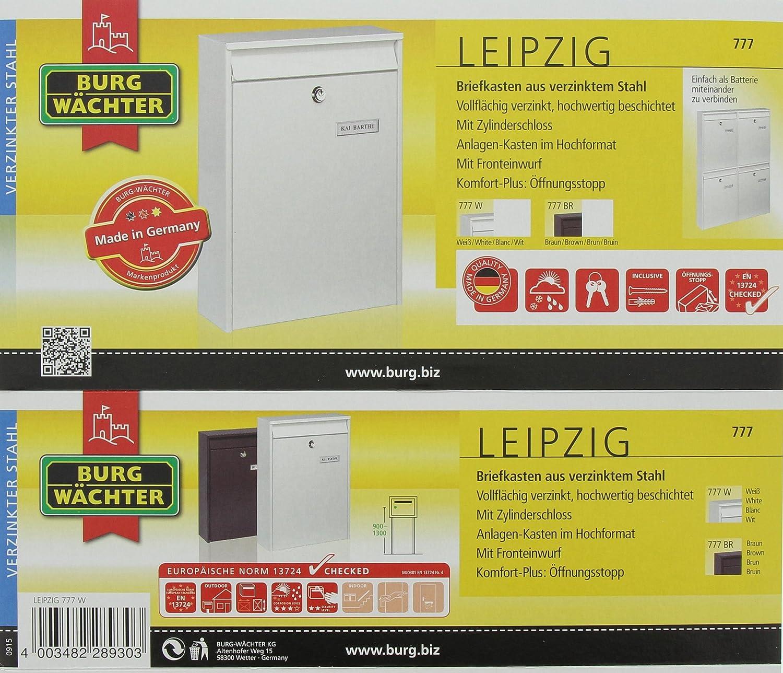 BURG-W/ÄCHTER Anlagenbriefkasten Gelocht Wei/ß A4 Einwurf-Format Verzinkter Stahl EU Norm EN 13724 Leipzig 777 W