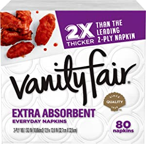 Vanity Fair Everyday Extra Absorbent Premium Paper Napkin, 80 Count, White Dinner Napkin for Messy Meals