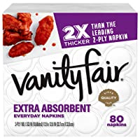 Vanity Fair Everyday Extra Absorbent Premium Paper Napkin, 80 Count, White Dinner...