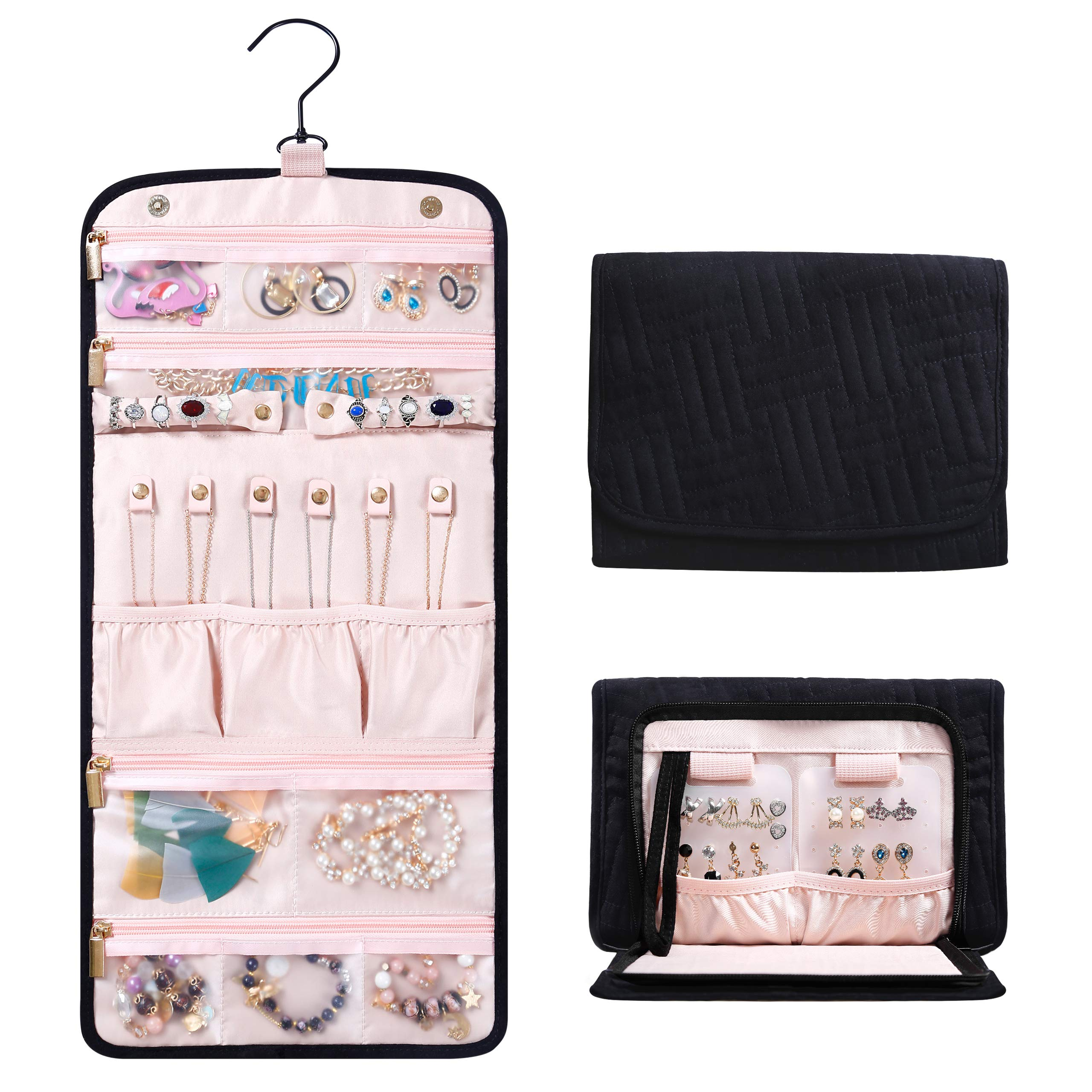 Travel Hanging Jewelry Organizer with Zippered Pockets - 10.2''L x 7.8''W x 1.2''H Jewelry Bag for Necklace, Earrings, Rings, Bracelets - Women Quilted Jewelry Box Organizer - Roll Foldable Jewelry Case