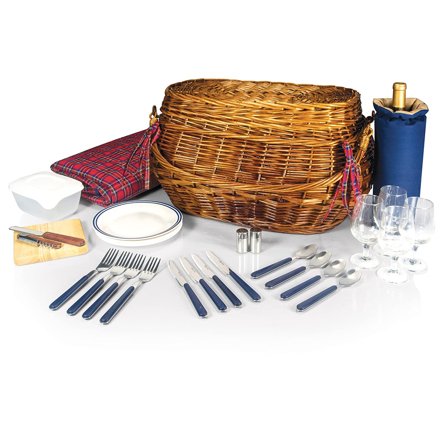 Highlander Bombay Picnic Basket with Deluxe Service for Four