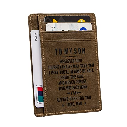 7e6116a54a4 Engraved Leather Front Pocket Wallet Custom Wallet RFID Blocking Minimalist  Slim Waller Personalized Gift for Family (Dad to My Son)