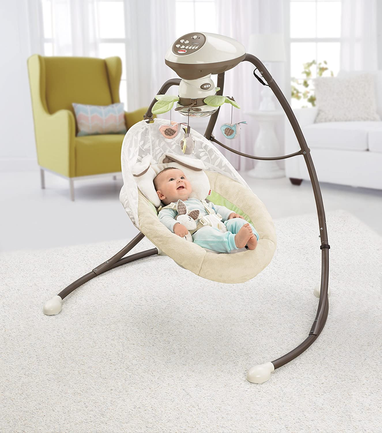Amazon.com : Fisher-Price Snugabunny Cradle 'n Swing with Smart Swing  Technology : Baby