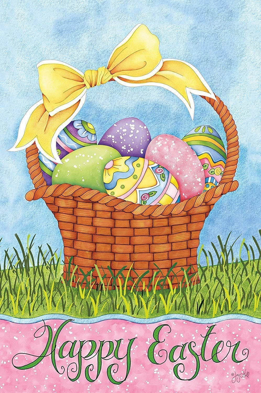 Raininc's Mini Garden Flag -Easter Basket, Exclusive Artwork by Joy Hall - All-Weather, Fade-Resistant Polyester - 12 w x 18 h
