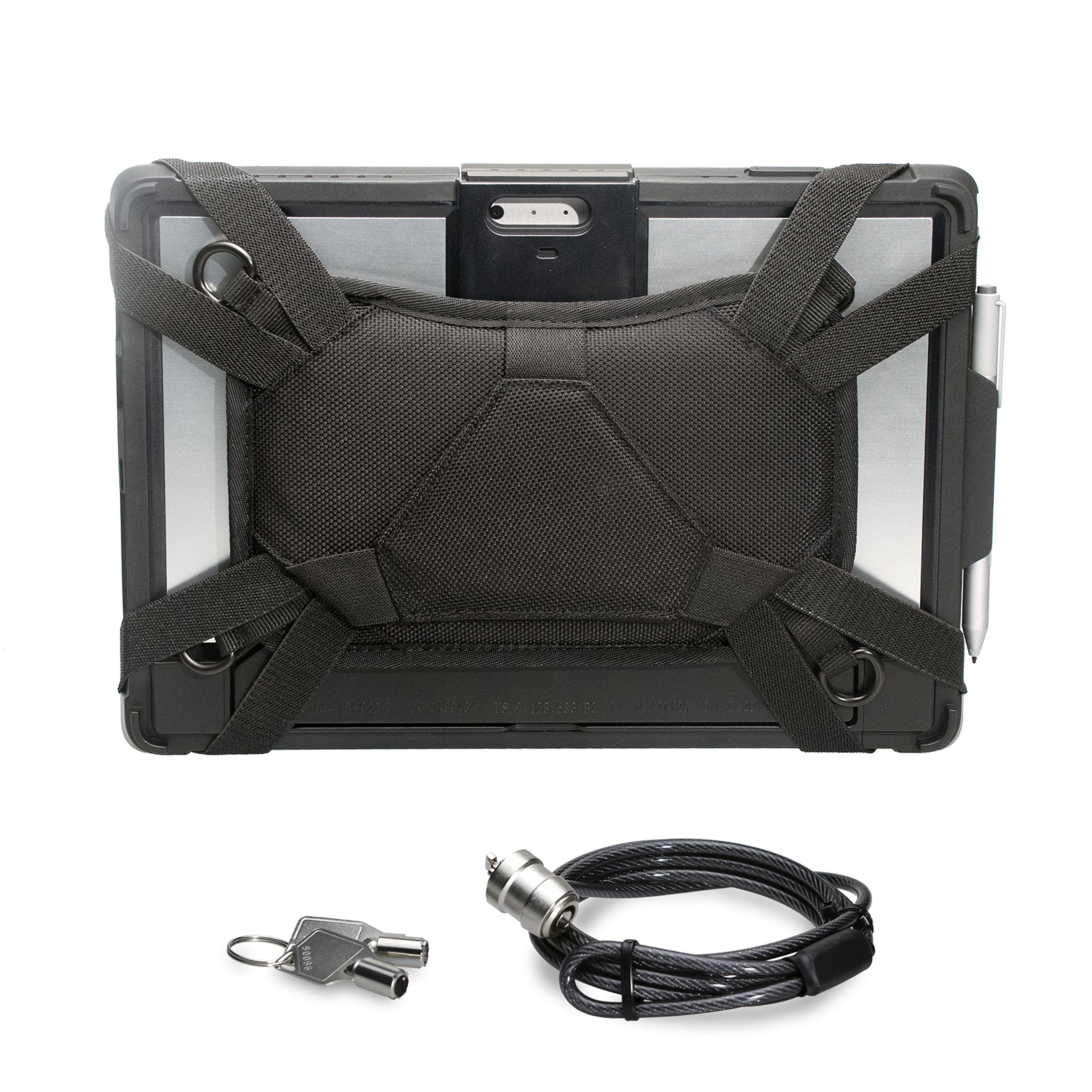 CTA Digital Security Carrying Case with Kickstand and Anti-Theft Cable for Surface Pro 4/Surface Pro 5 (PAD-SCCKS)
