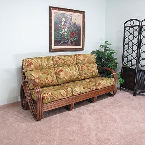 Amazon.com: Sofá de ratán nogal para sala de estar (elección ...