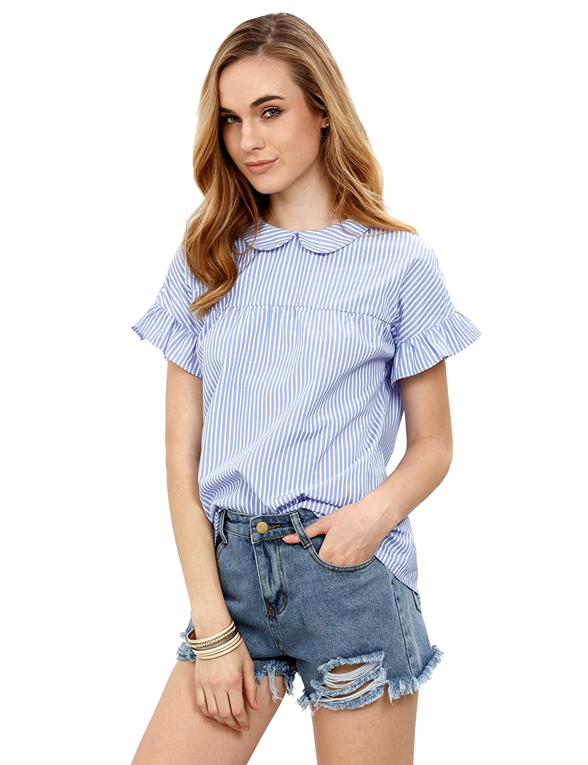 a1ec50cab4fe SheIn Women's Cute Striped Peter Pan Collar Short Sleeve Babydoll Blouse Top  at Amazon Women's Clothing store: