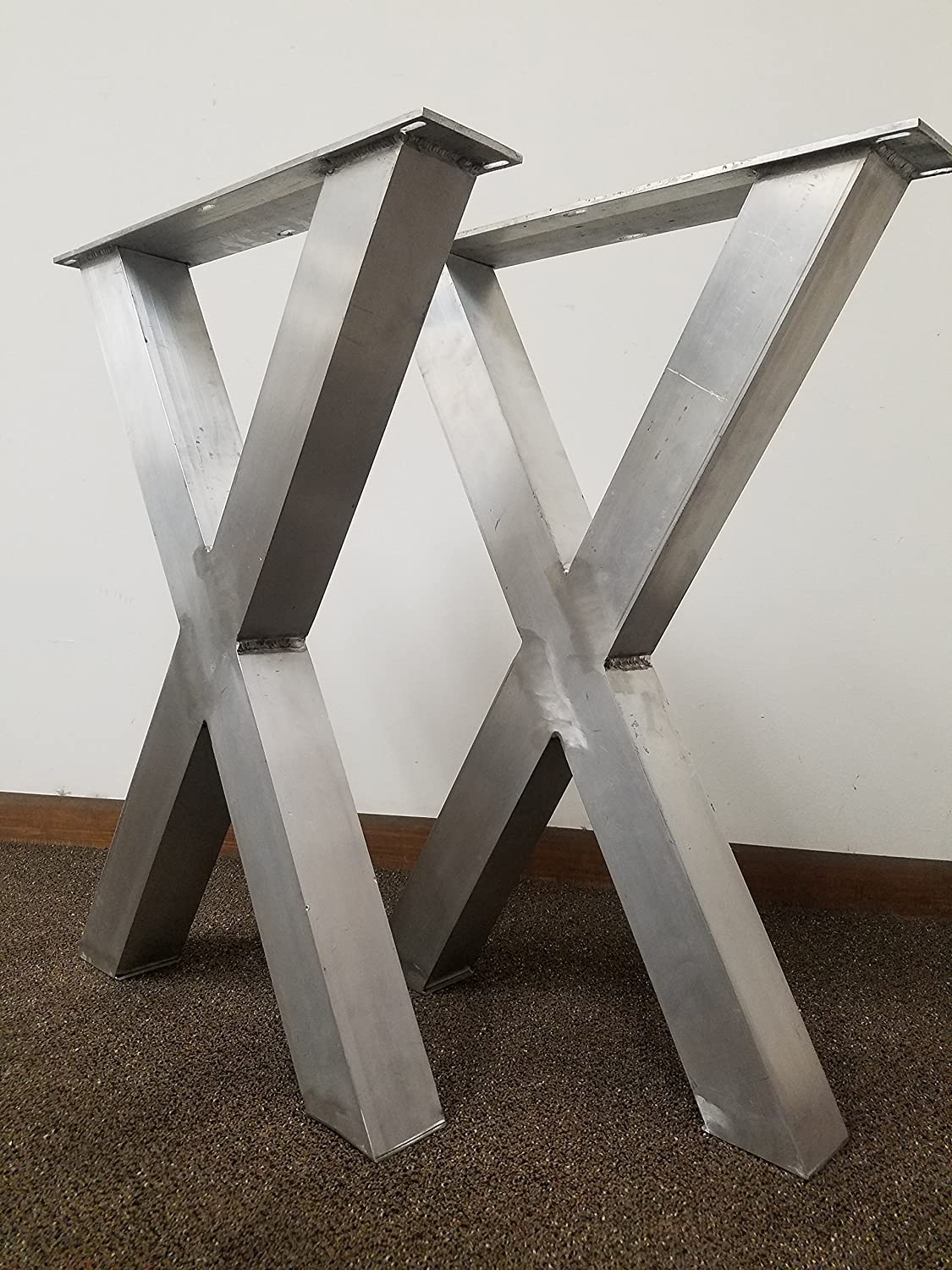 Metal Table Legs, Aluminum X-Frame Style - Any Size and Color!