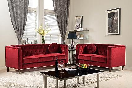 Container Furniture Direct S5375 2PC Kitts Velvet Upholstered Modern Chesterfield  Sofa Set, 78u0026quot;