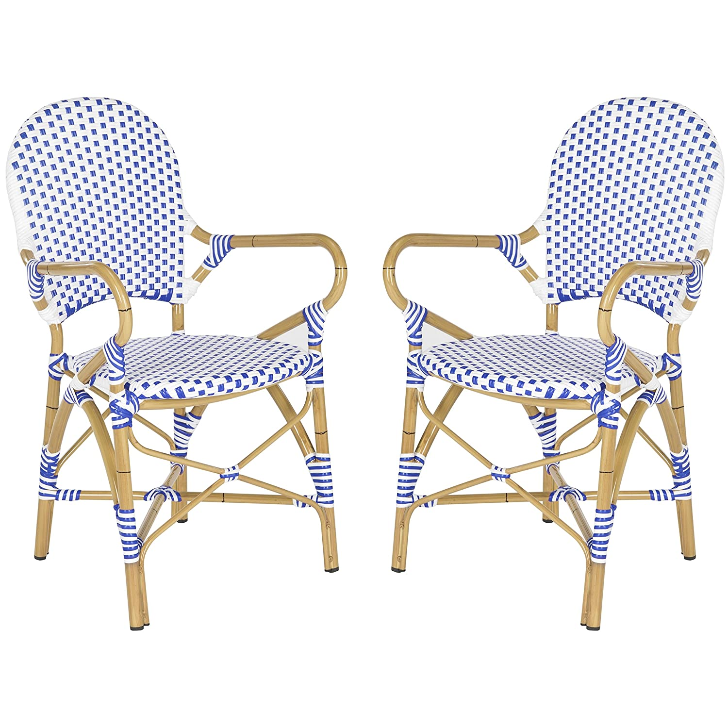 Amazon.com: Safavieh Home Collection Hooper Blue U0026 White Indoor Outdoor  Stacking Arm Chair: Kitchen U0026 Dining