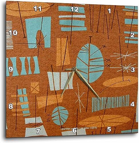 3dRose Lee Hiller Designs 50s Retro Print – Retro 50s Atomic Tiki Print Bronze Turquoise – 15×15 Wall Clock DPP_4965_3