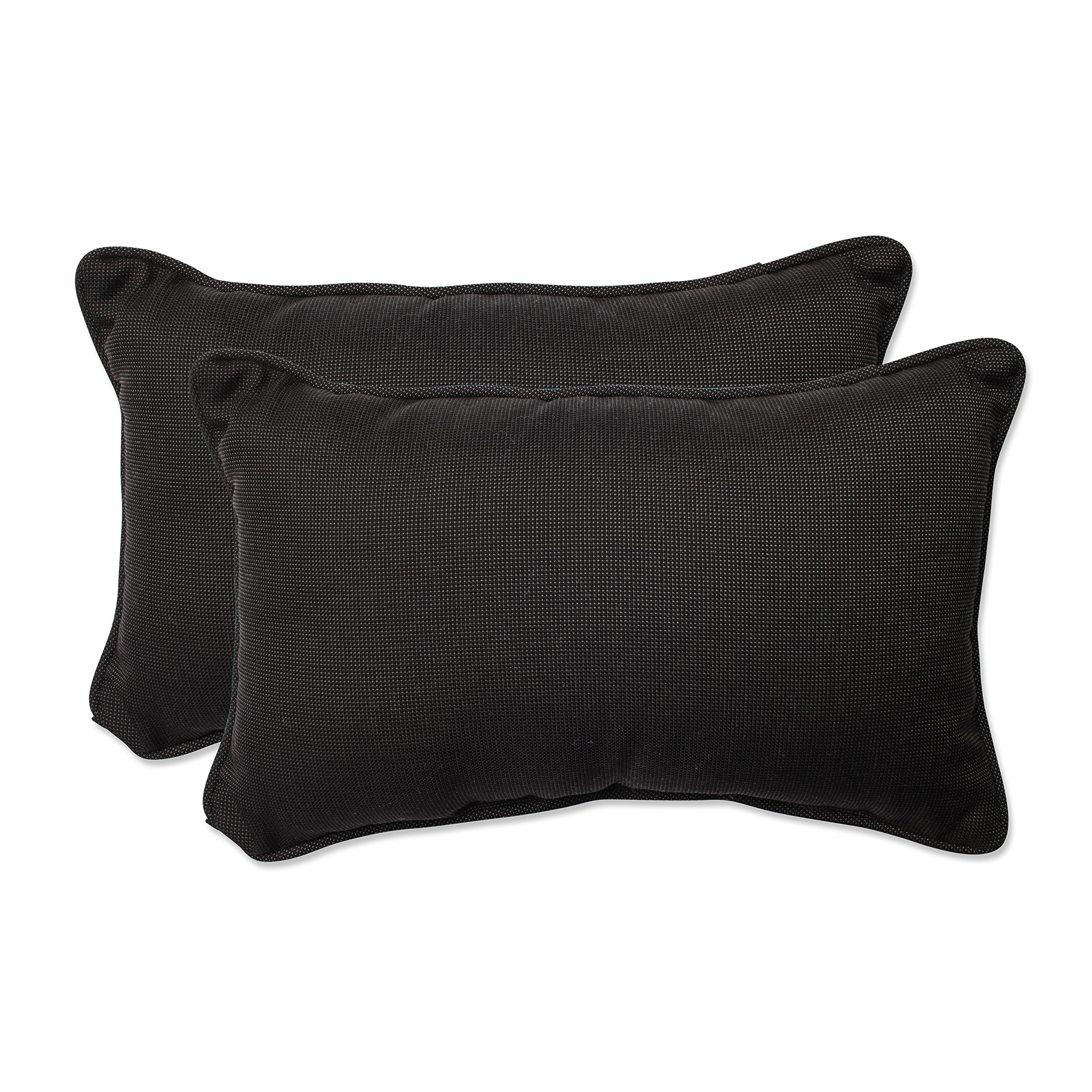 Pillow Perfect Outdoor/Indoor Tweed Rectangular Throw Pillow (Set of 2), Black