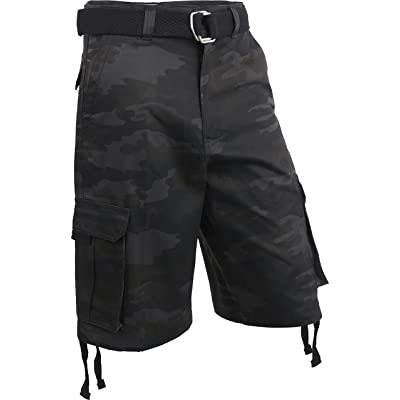 Hat and Beyond Mens Twill Cargo Shorts with Belt Loose Fit Cotton Multi Pocket Outerwear | Amazon.com