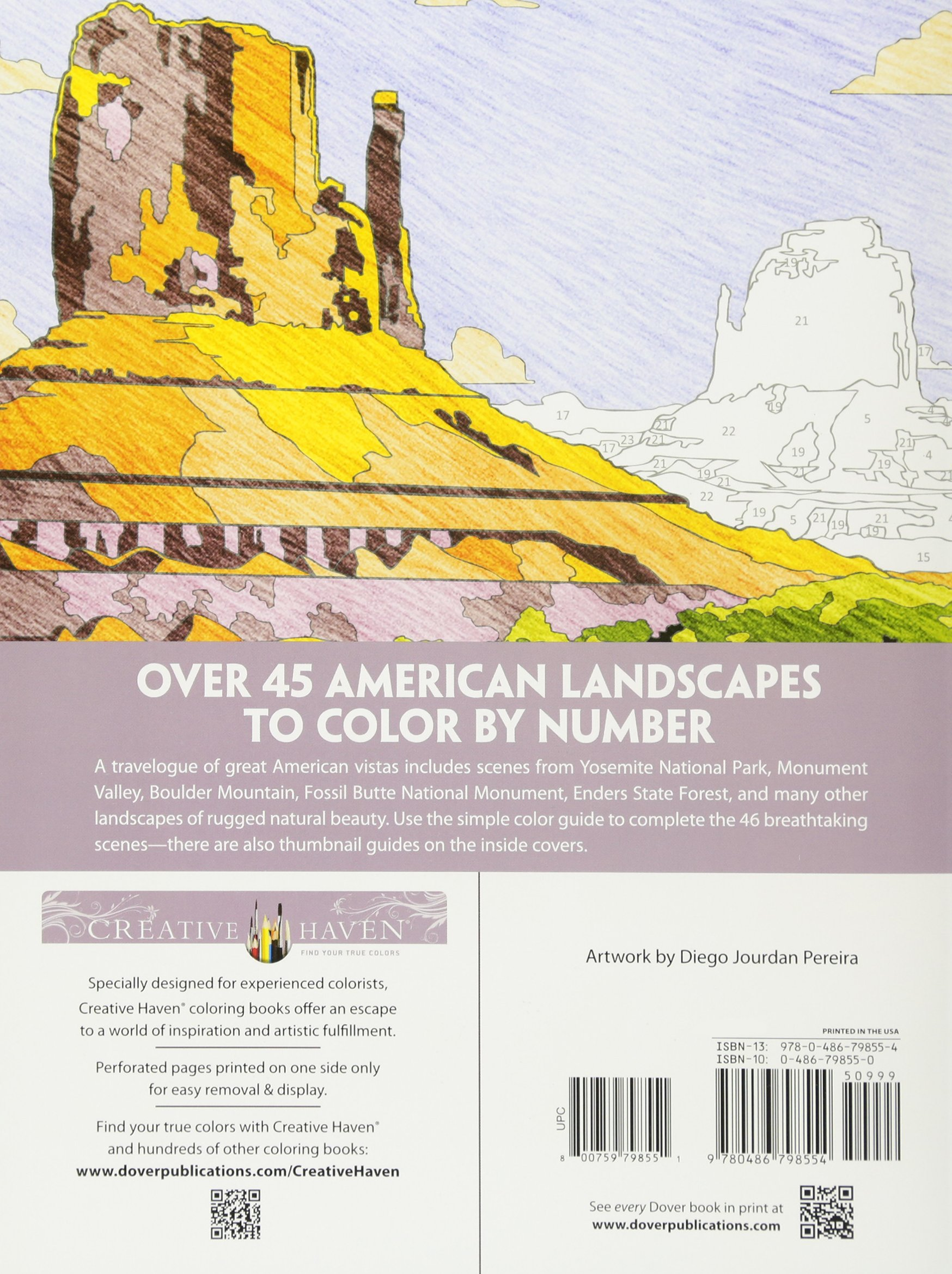 Amazon Creative Haven American Landscapes Color By Number Coloring Book Adult 0800759798551 Diego Jourdan Pereira Books
