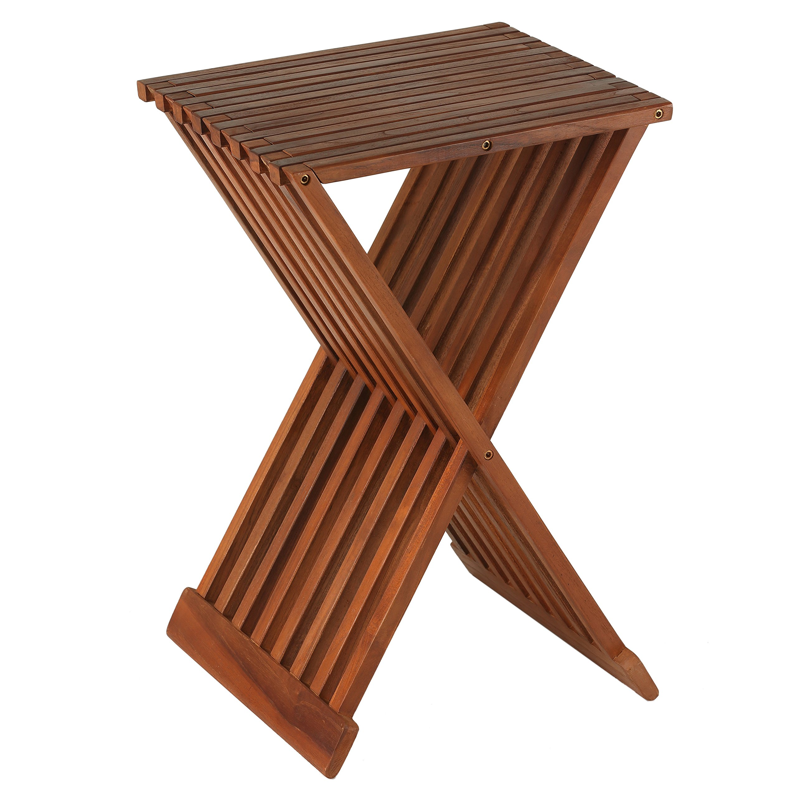 Bare Decor Solid Teak Wood 24-inch High Leaf Folding Counterstool by Bare Decor