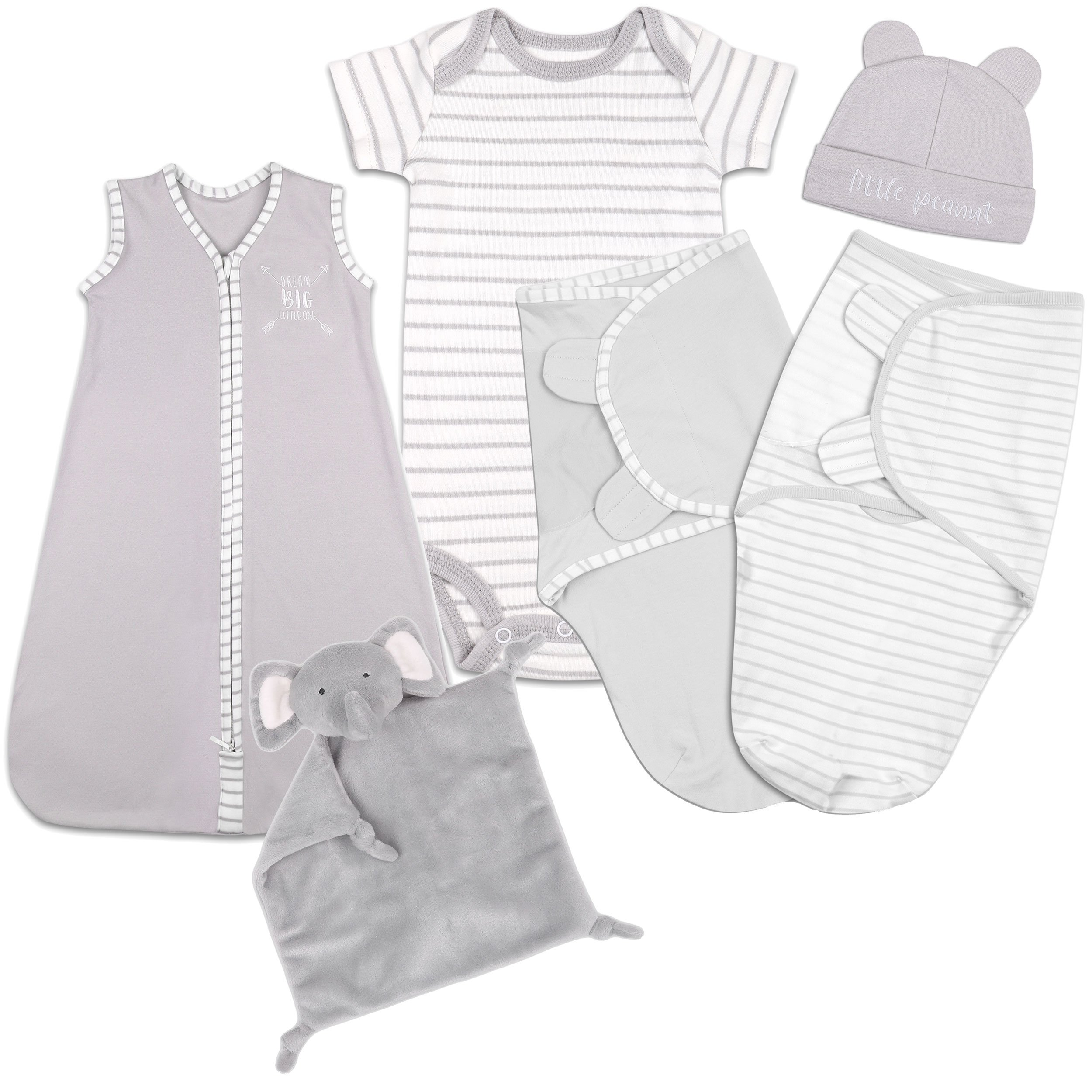 Baby Layette Gift Set - Grey Sleep Bag, Swaddles, Bodysuit, Hat, and Blanket