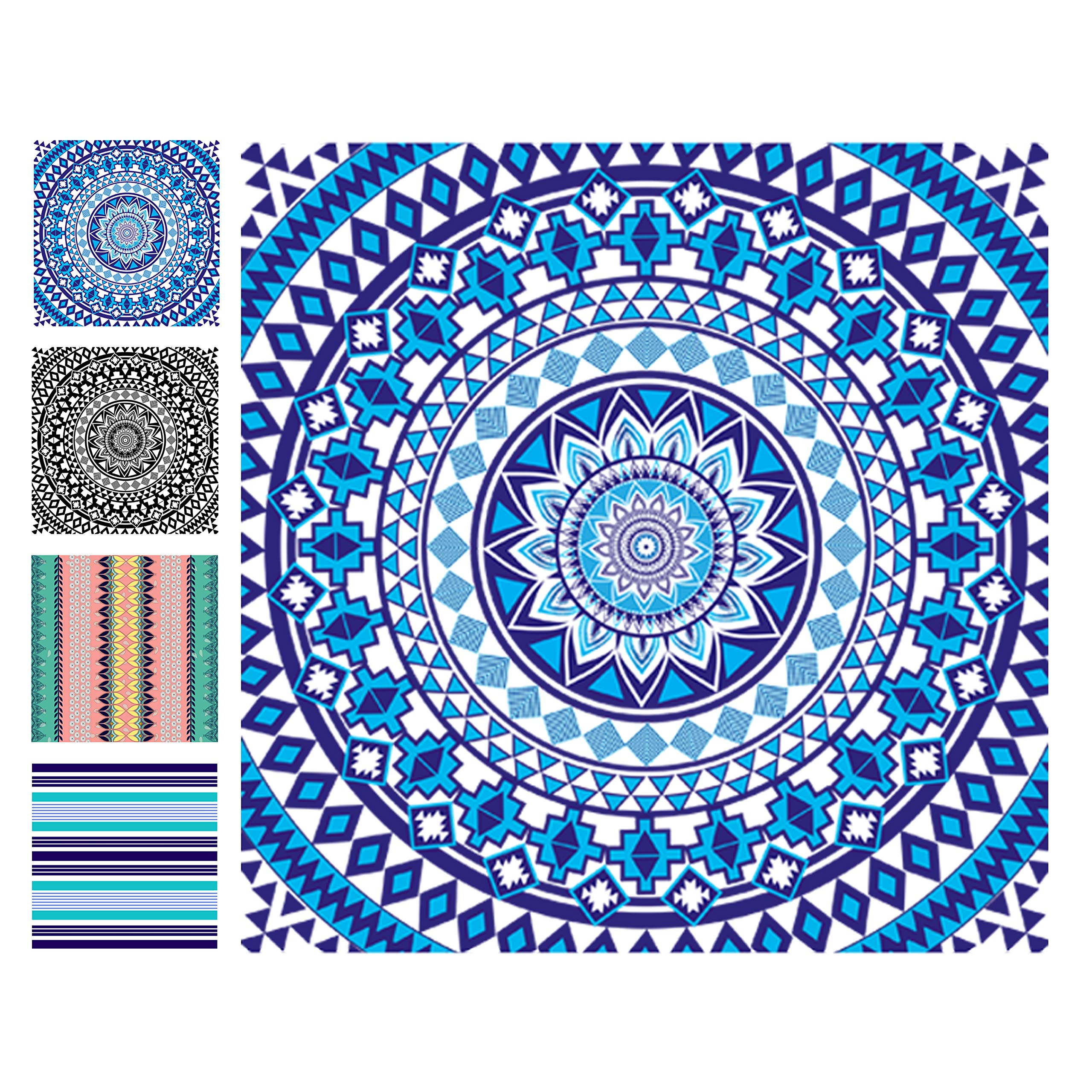 Elite Trend Microfiber Beach Towel for Travel:Oversized XL 78 x 35, 63x63,71x31Inch Quick Drying, Lightweight, Fast Dry Shower & Body Towels, Sand Free, Perfect (W-Blue Beauty, Family (72X72-INCH))