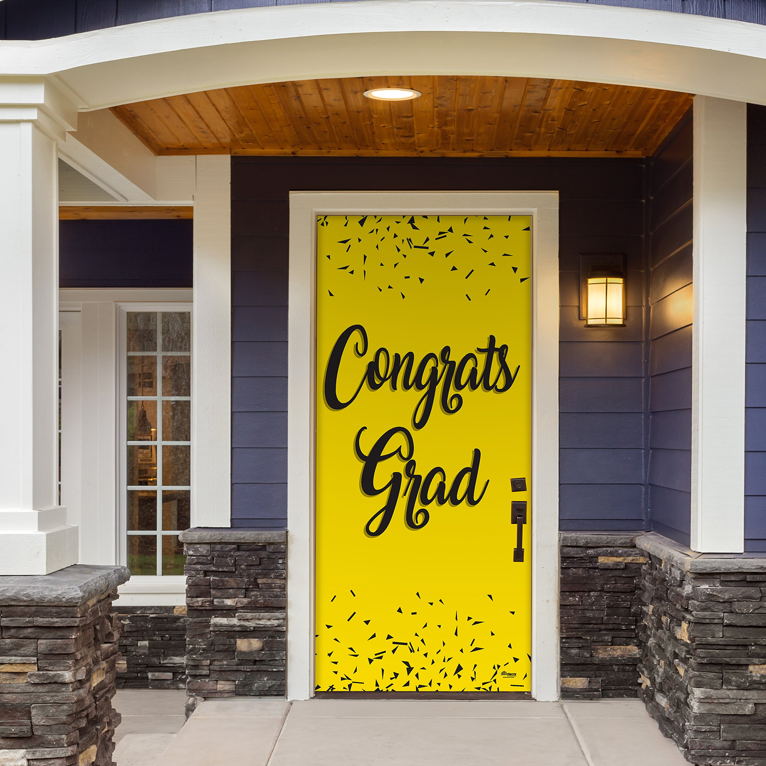 Victory Corps Congrats Grad Yellow - Outdoor GRADUATION Garage Door Banner Mural Sign Décor 36'' x 80'' One Size Fits All Front Door Car Garage -The Original Holiday Front Door Banner Decor