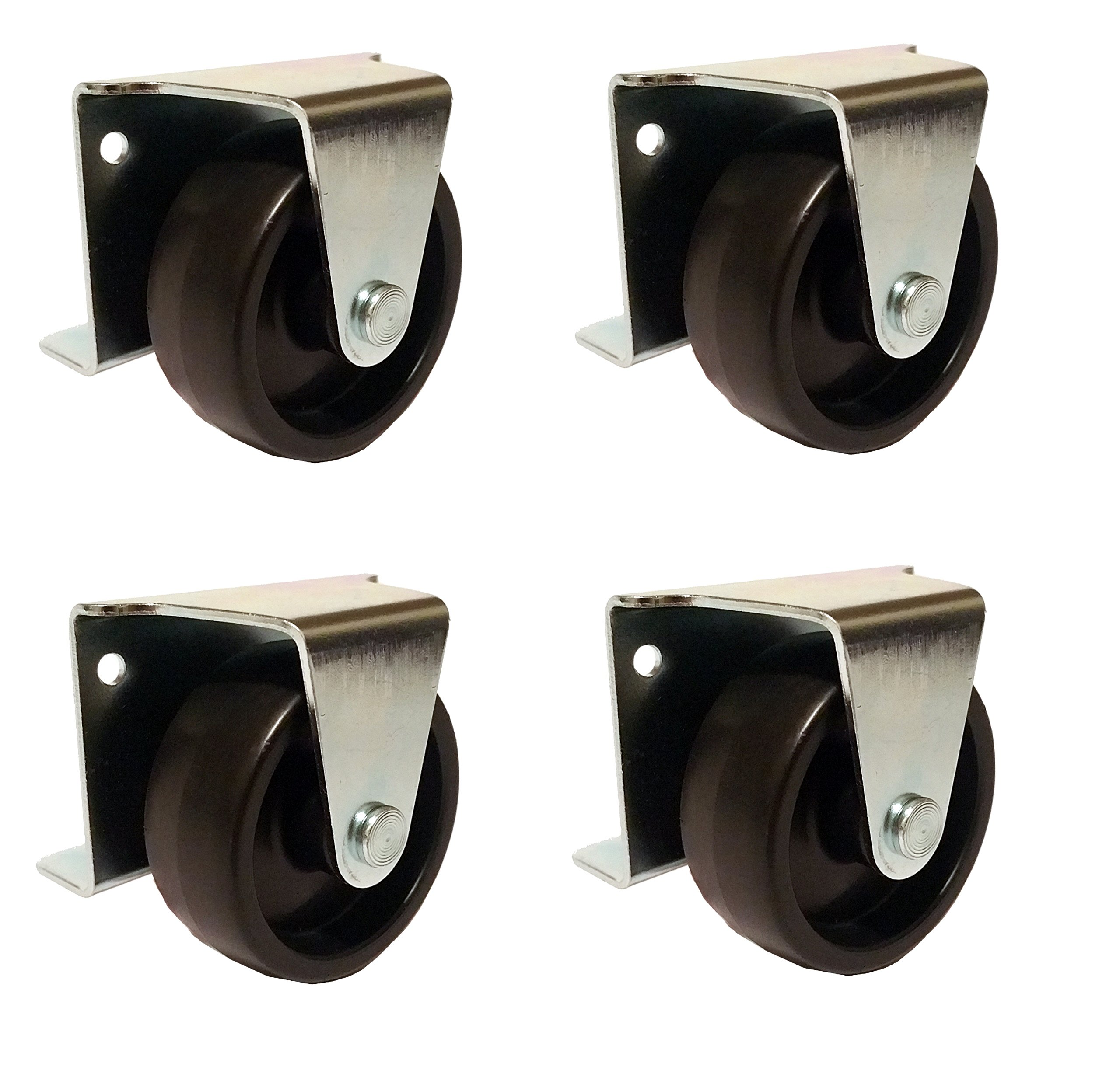 2'' Inch Low Profile Trundle Casters / Wheels Cabinet Roll-Out Bed - Set of 4 by American Bolt & Screw