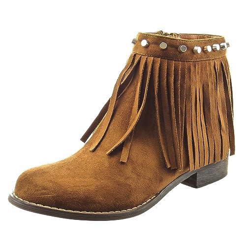 Sopily - Zapatillas de Moda Botines A Medio Muslo Mujer Fleco Tachonado Talón Tacón Ancho 3 CM - Camel CAT-5-LL650 T 41: Amazon.es: Zapatos y complementos