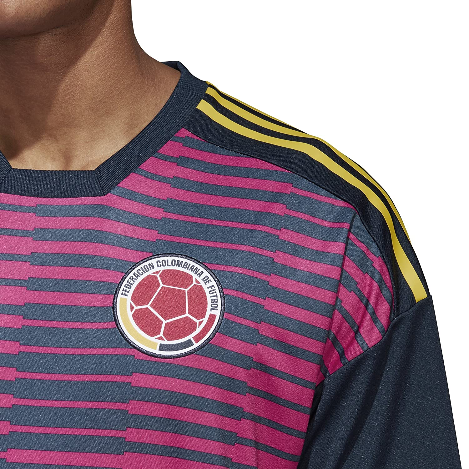 Amazon.com : adidas 2018-2019 Colombia Pre-Match Football Soccer T-Shirt Jersey (Pink) : Sports & Outdoors