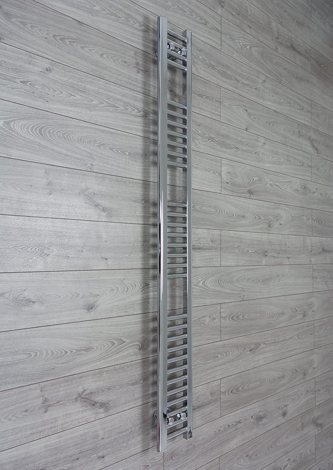 200mm wide x 1800mm high Small Narrow Heated Towel Rail Straight Flat Chrome Bathroom Warmer Radiator Rack