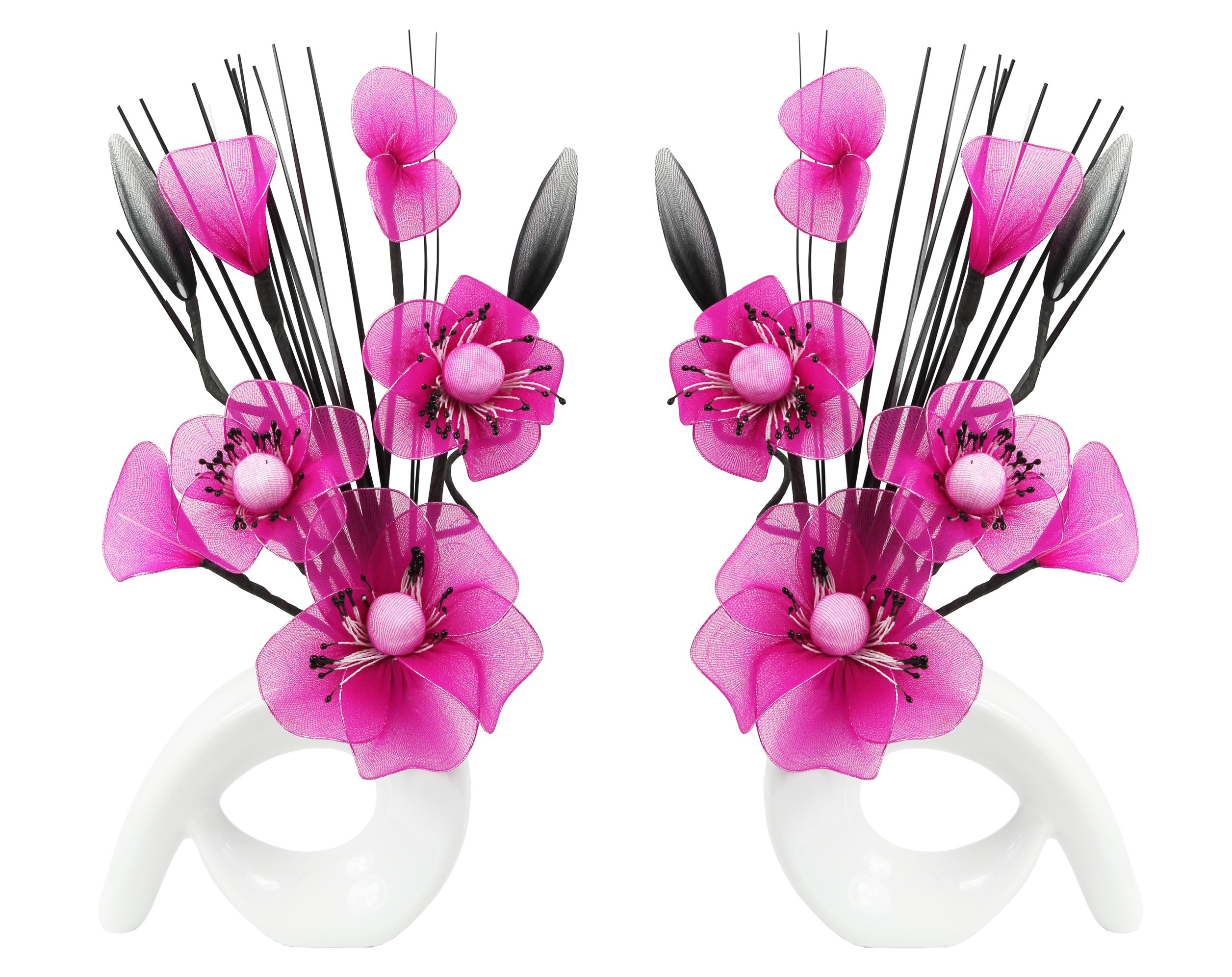 Pink artificial flowers in vase amazon flourish 794804 qh1 matching pair of white vases with pink nylon artificial flowers in vases fake mightylinksfo