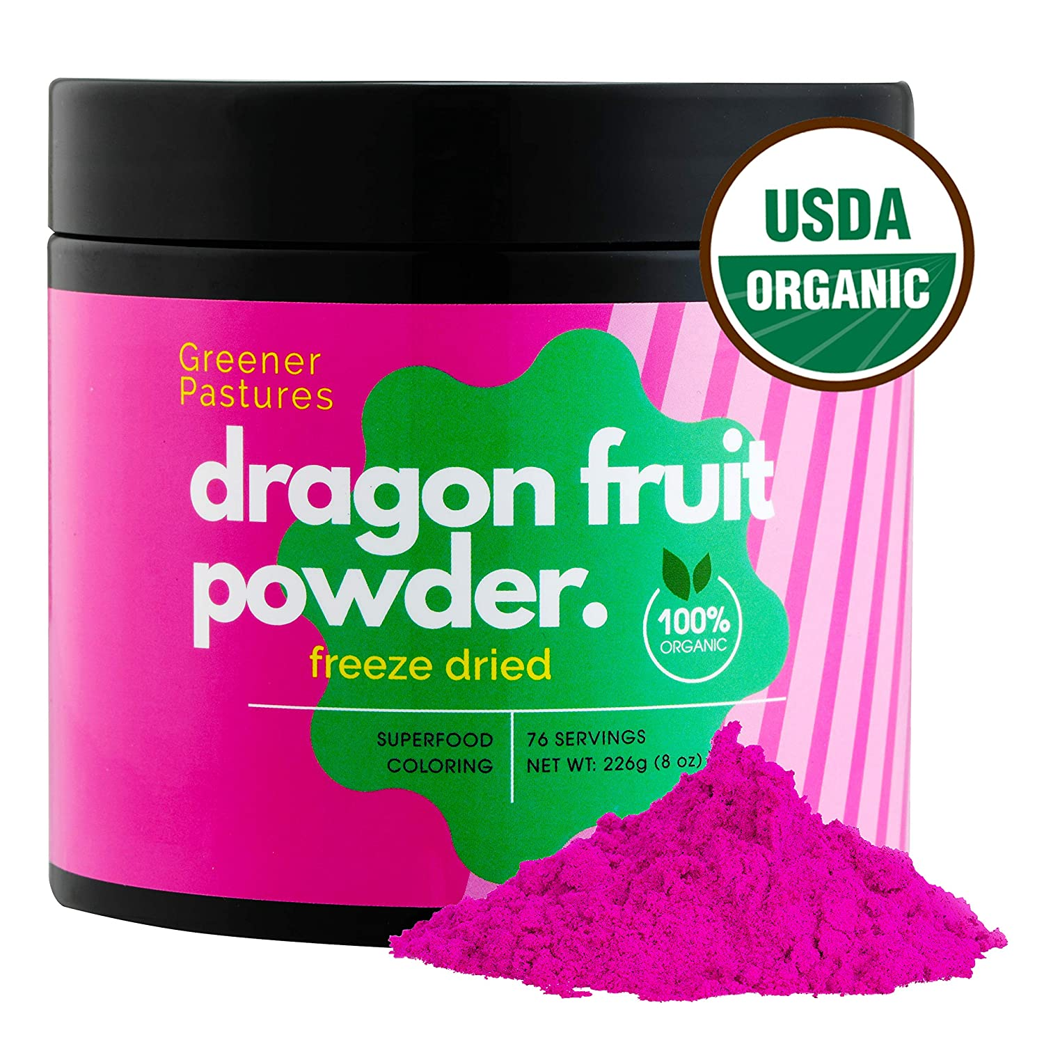 Organic Dragon Fruit Pitaya Powder Superfood (8 oz) Pure Natural Food  Coloring, Freeze Dried by Greener Pastures