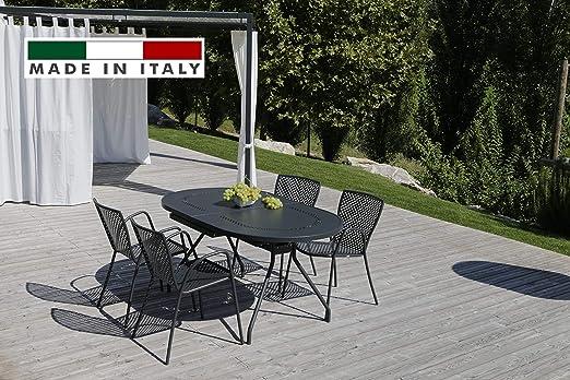 RD ITALIA Juego Mesa Reef Extensible Ovalada y 6 sillas Metal de ...