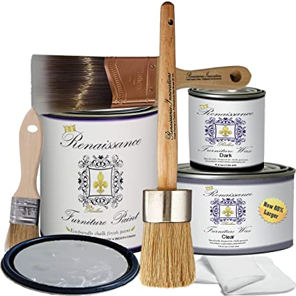 Astounding Renaissance Chalk Furniture Paint Deluxe Starter Kit 32Oz Paint 8Oz Clear Wax 4Oz Dark Wax 2 Paint Brush 1 5 Wax Brush 1 Detail Wax Brush Download Free Architecture Designs Itiscsunscenecom
