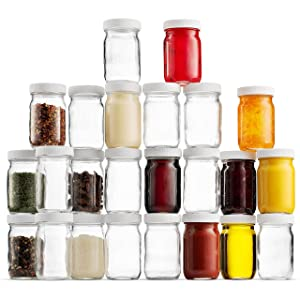 Small Glass Mason Jars 4 Ounce Mini Jars Full-Width Mouth, BPA Free Plastic Airtight Lid, For Jam, Jelly, Dressings, baby food, Crafts, Spices, Food Storage, Wedding favors, Decorating Jar (24 Pack)