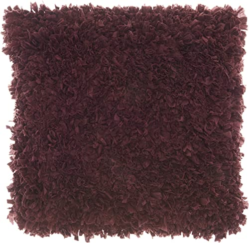 Nourison Mina Victory DL660 Chindi Short Cut Shag Throw Pillow 17 x 17 Purple