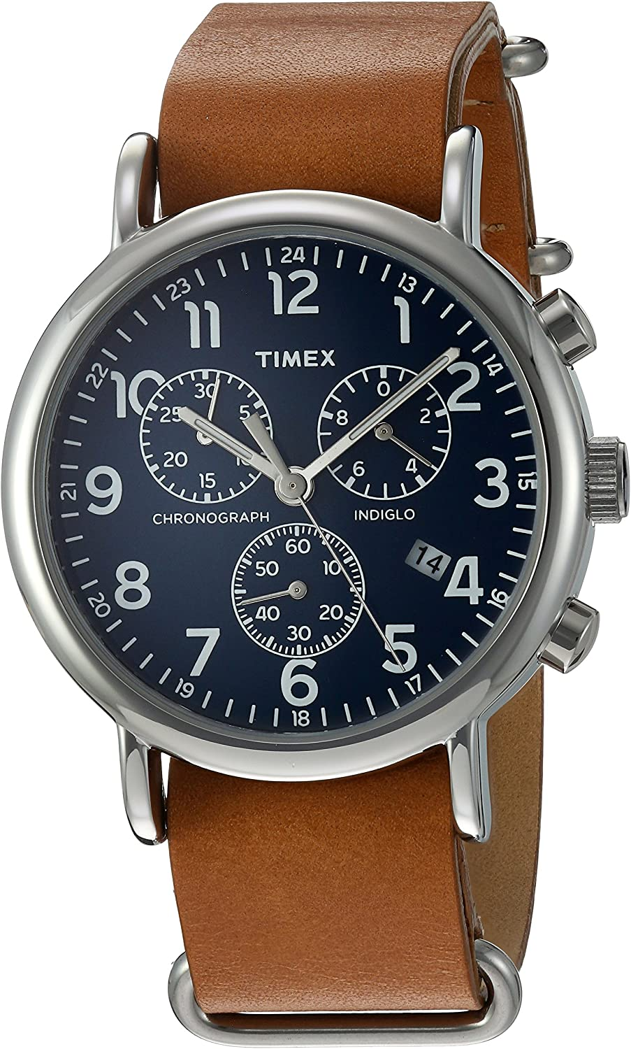 Timex Weekender Chronograph 40mm Watch Tan/Blue + Extra Strap