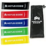 Motus Edge Mini Exercise Resistance Bands - Set of 5, Variable Strength - Instructional Guide & Handy Carry Bag