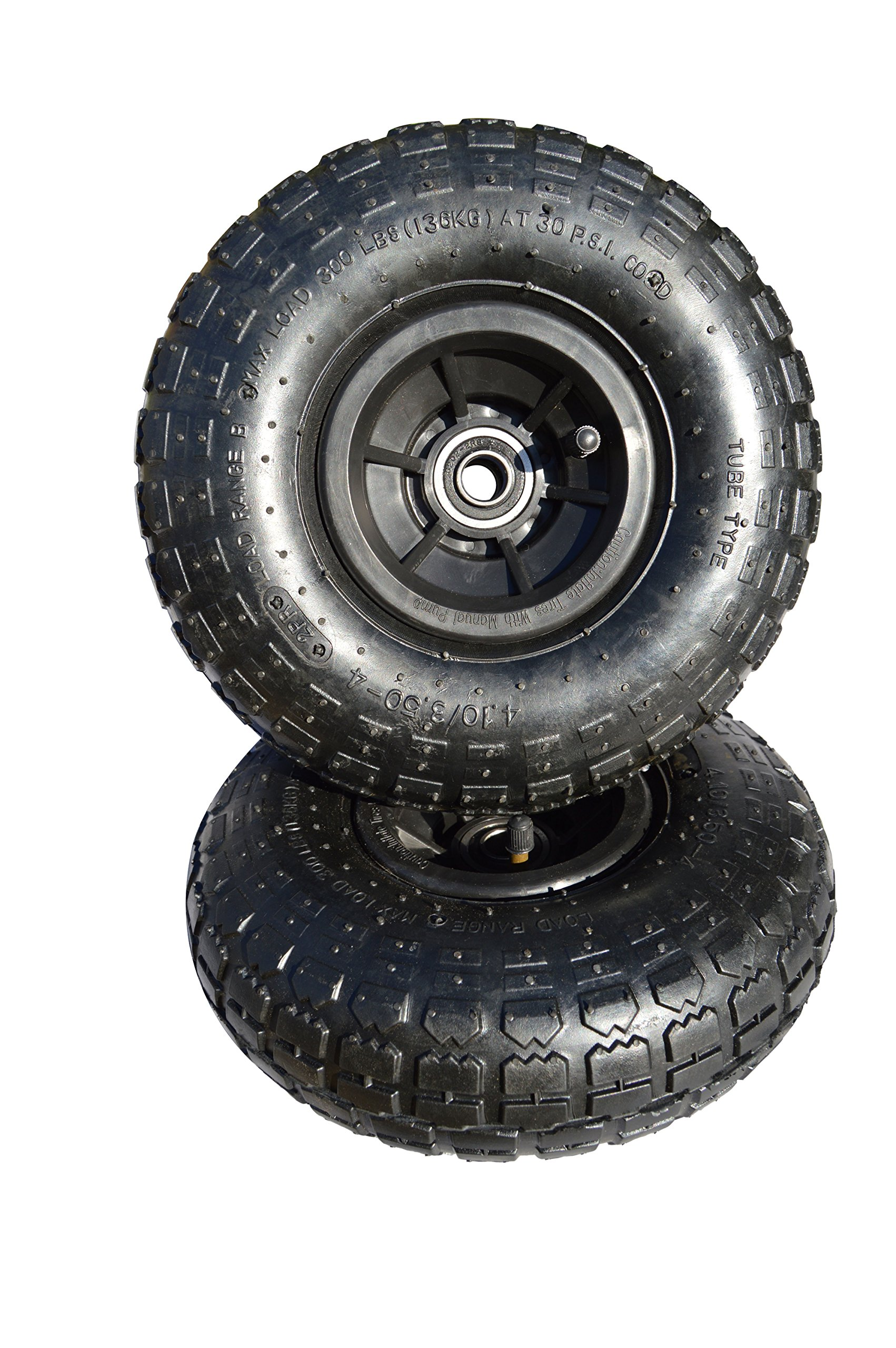 2-Pack, 10-inch Diameter, Pneumatic Tires With Sealed Wheel Bearings for Hand Truck or All Purpose Utility Tires
