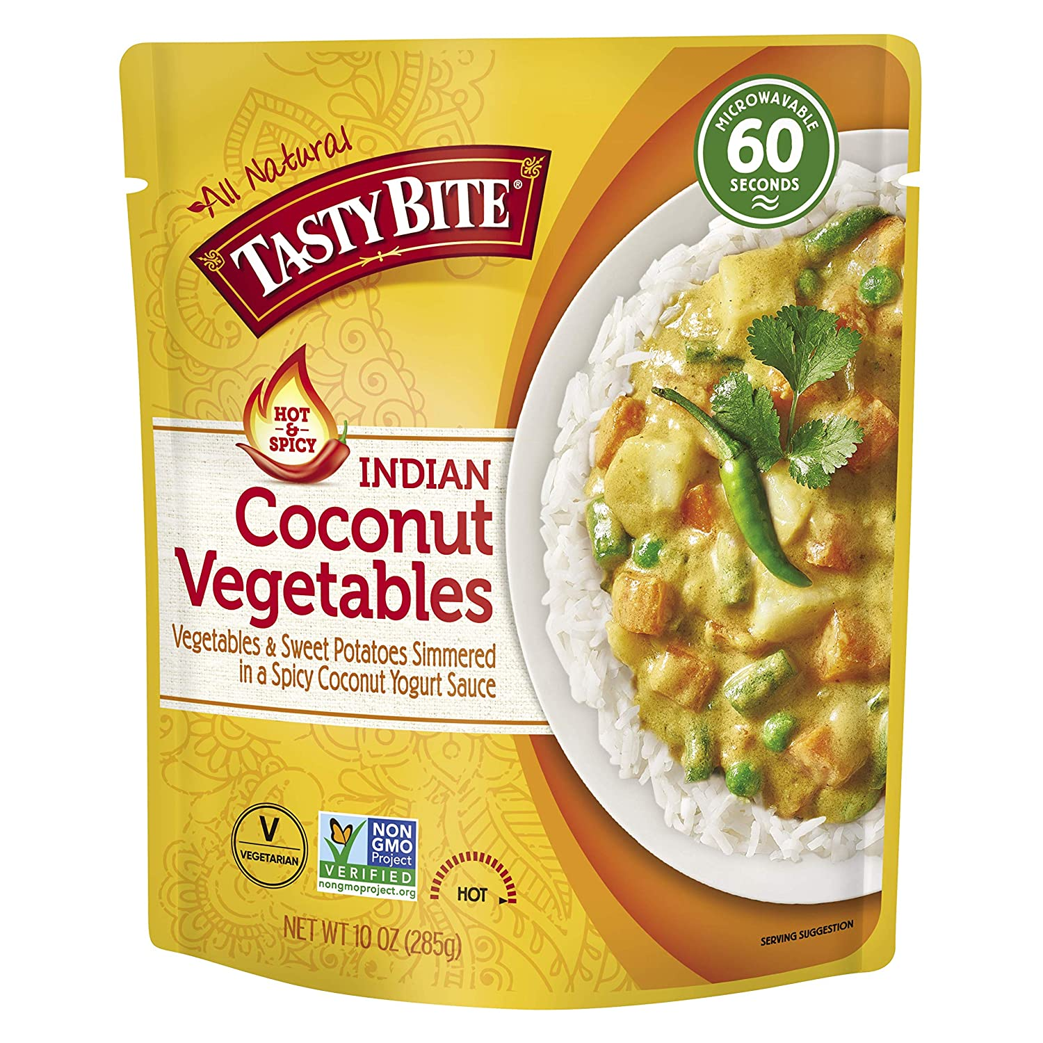 Tasty Bite Indian Hot and Spicy Coconut Vegetables, Microwaveable Ready to Eat Entrée, 10 Ounce (Pack of 6)