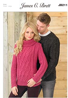 6679e2142 Ladies and Man s Sweater JB211 Knitting Patterns from James C Brett. Knit  with Aran wool