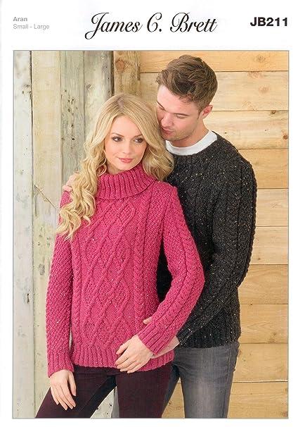 f20ff81ed Ladies and Man s Sweater JB211 Knitting Patterns from James C Brett. Knit  with Aran wool