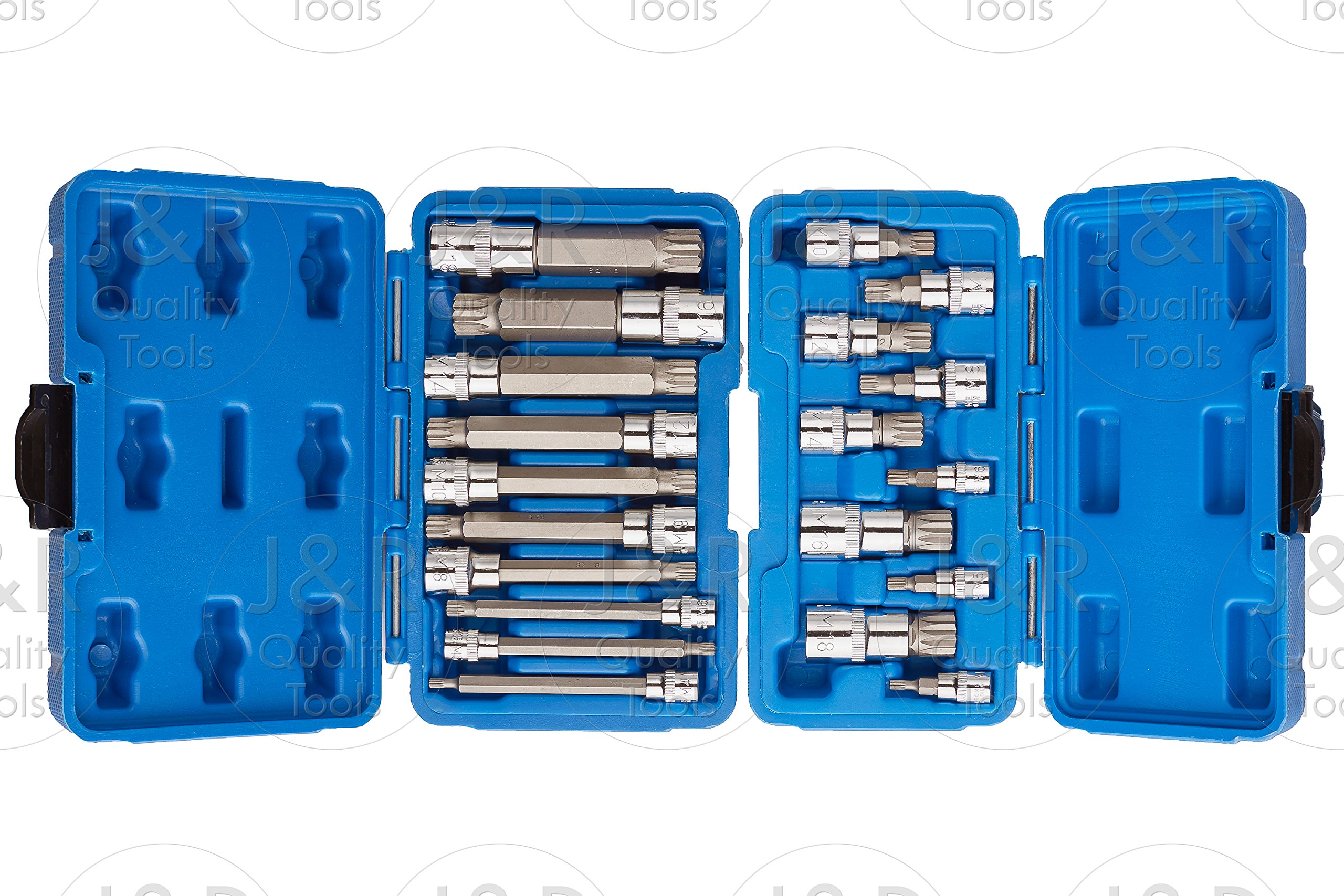 J&R Quality Tools 20pc XZN 12 Point MM Triple Square Spline Bit Socket Set Tamper Proof Set by VECTOR