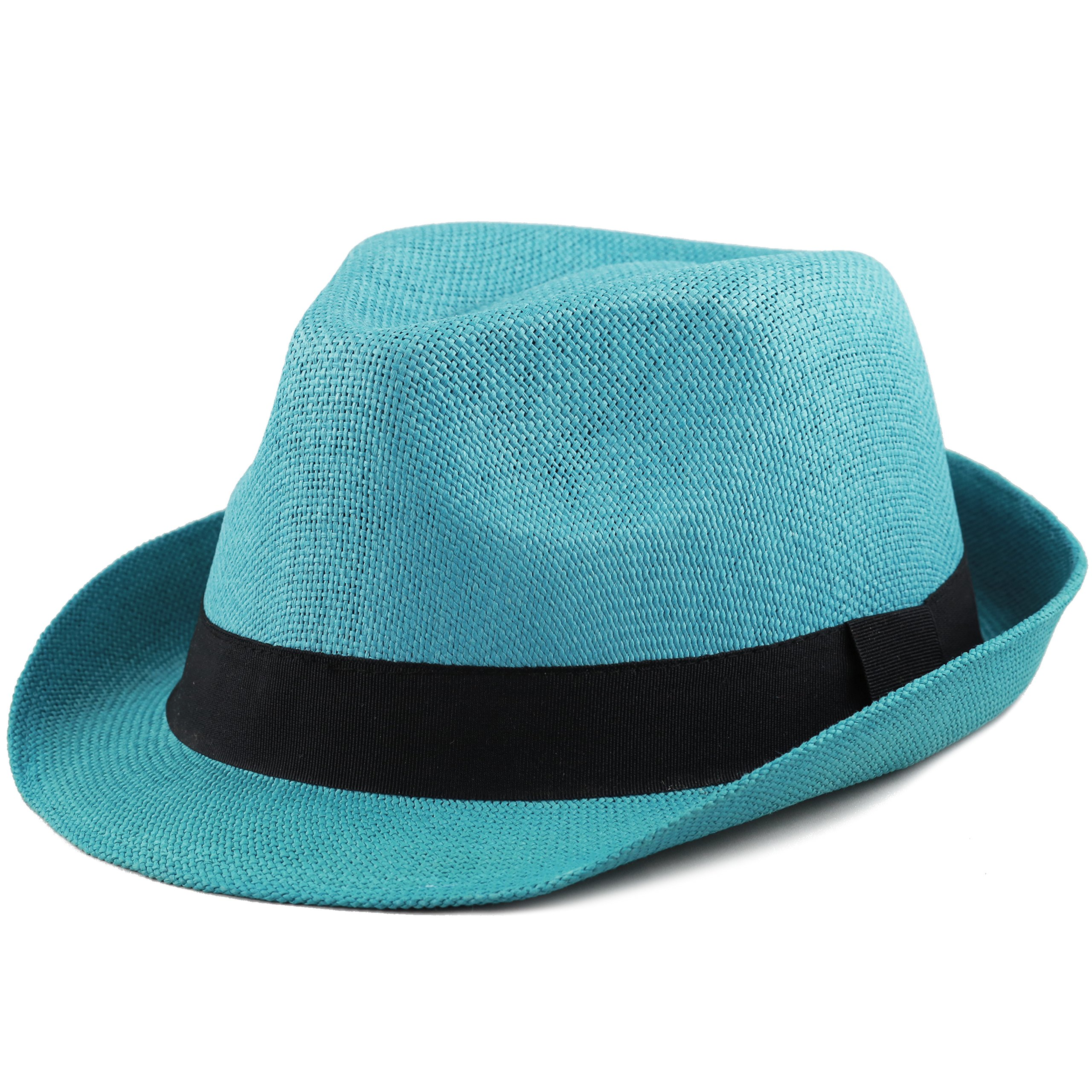 THE HAT DEPOT Unisex Summer Short Brim Straw Fedora Hat (Turquoise)