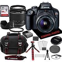 Canon EOS Rebel T100 DSLR Camera w/Canon EF-S 18-55mm Zoom Lens, 64GB Memory Card, Camera Case (20 Piece Bundle)