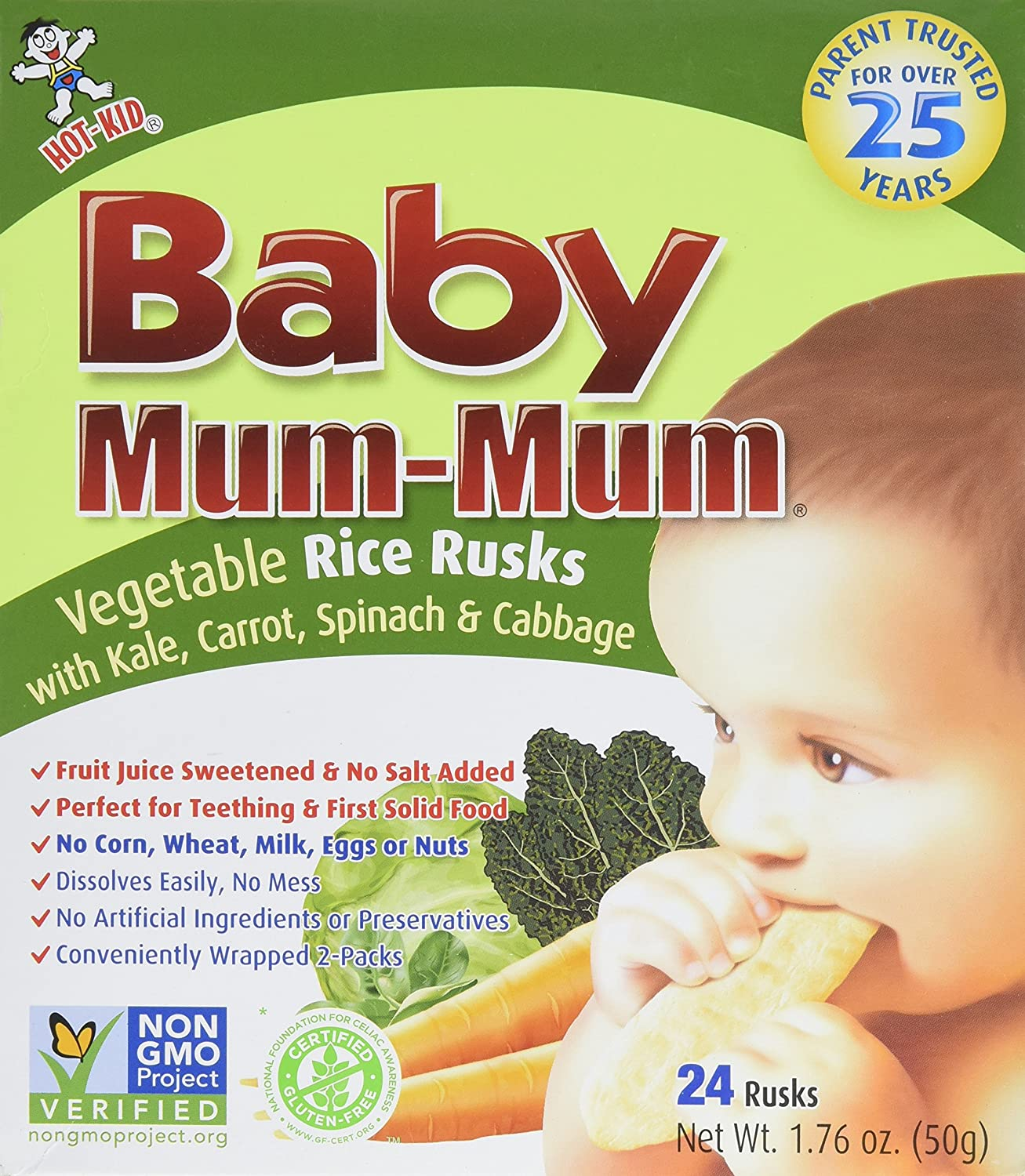 Hot-Kid Baby Mum-Mum Rice Rusks, Apple & Pumpkin, 24 Pieces (Pack of 6) Gluten Free, Allergen Free, Non-GMO, Rice Teether Cookie for Teething Infants National Importers US Inc. 809767