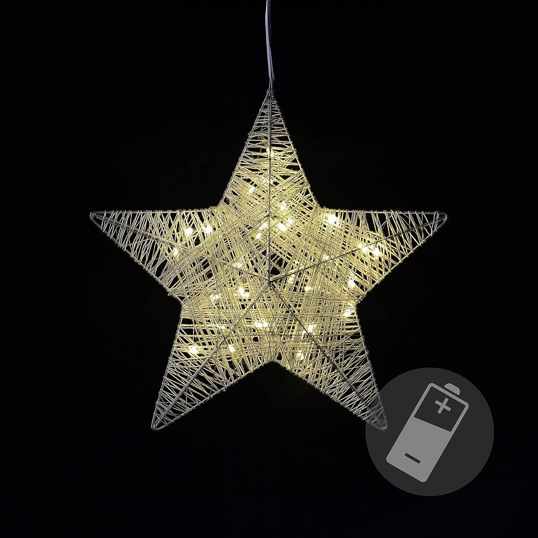 LED Stern Fensterdeko Weihnachtsdeko Timer Batteriebetrieb Lights4fun