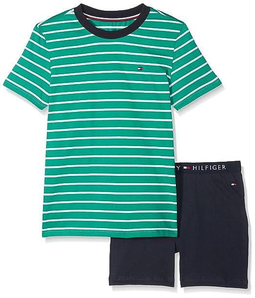 Tommy Hilfiger Short Set SS Stripe, Pijama para Niños, Verde (Green Lake/