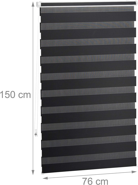60x150 cm Polyester Relaxdays 10026661/_724 Jour Nuit sans per/çage Tissu 56 cm Plastique Store Double Enrouleur Klemmfix Aluminium Noir fen/être 5 x 60 x 7 cm